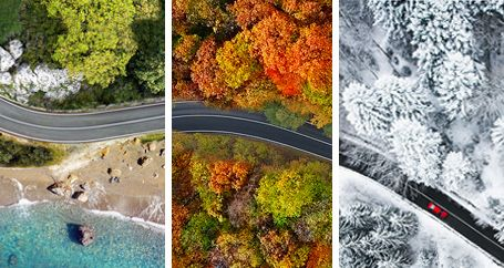 composite overhead shot of road in three different seasons
