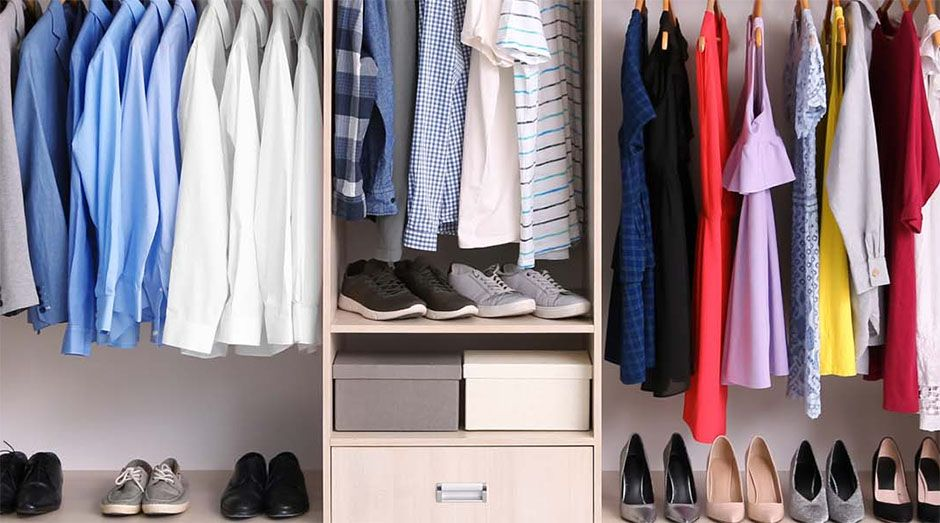 DIY closet makeover with organized clothes and shoes